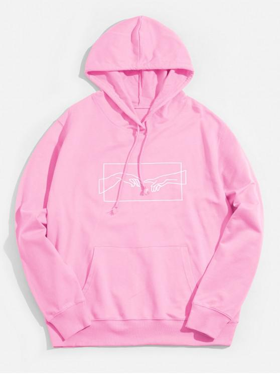 shop Helping Hand Graphic Kangaroo Pocket Drawstring Hoodie - PINK XS