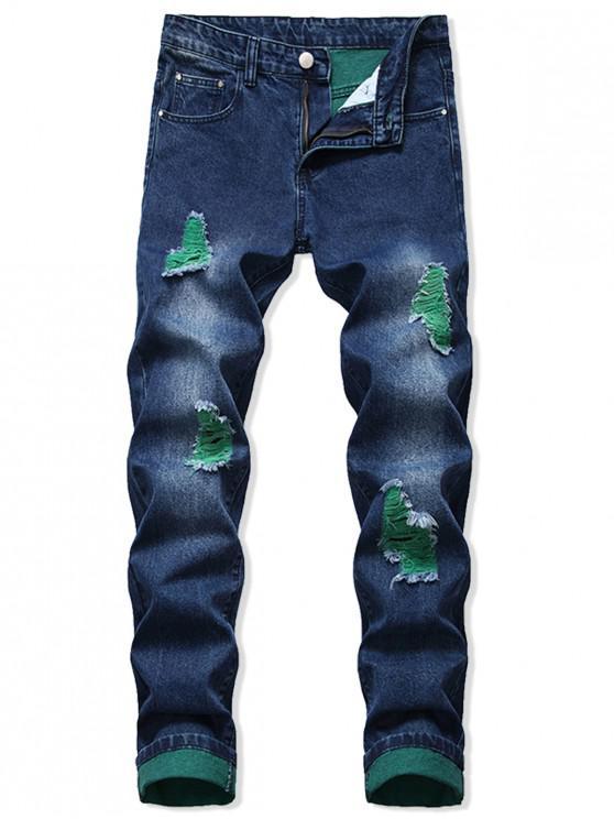 fancy Zip Fly Ripped Long Denim Pants - DENIM DARK BLUE 40