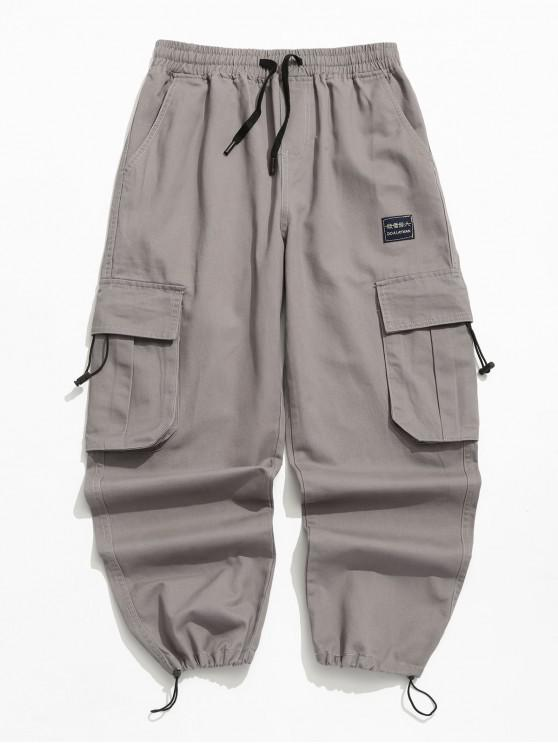 online Applique Solid Flap Pocket Cargo Jogger Pants - GRAY 2XL