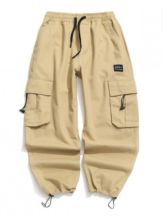 shop Applique Solid Flap Pocket Cargo Jogger Pants - KHAKI 2XL