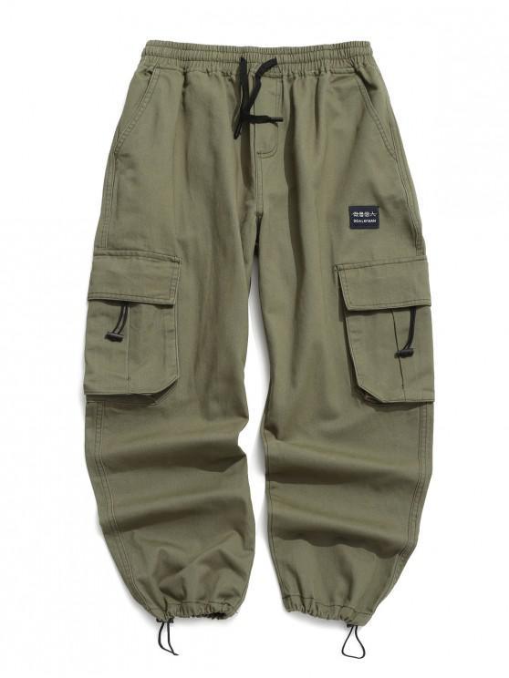 ladies Applique Solid Flap Pocket Cargo Jogger Pants - GREEN L
