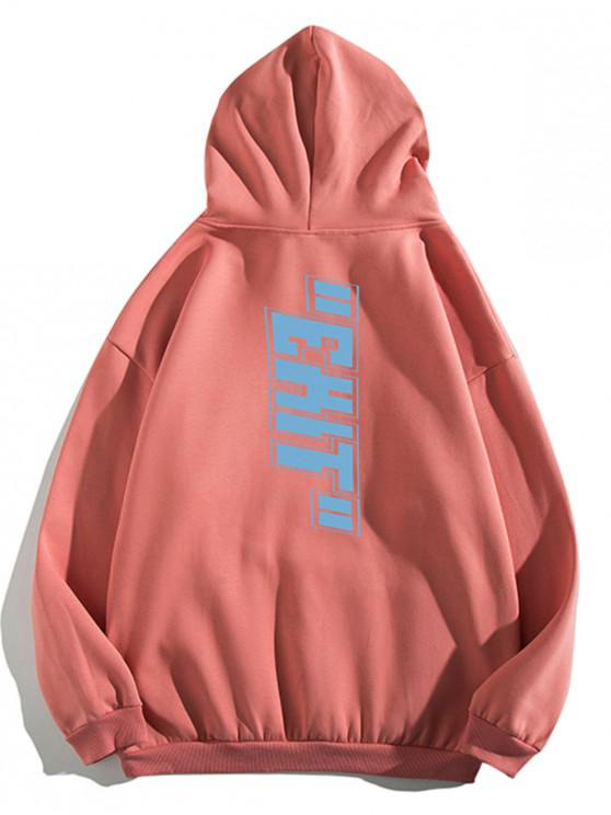 affordable Letter Print Pouch Pocket Casual Hoodie - LIGHT CORAL XL