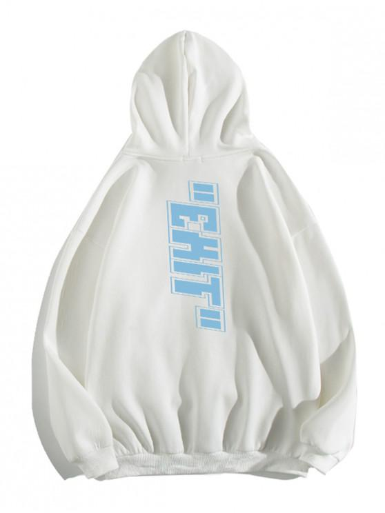 trendy Letter Print Pouch Pocket Casual Hoodie - WHITE M