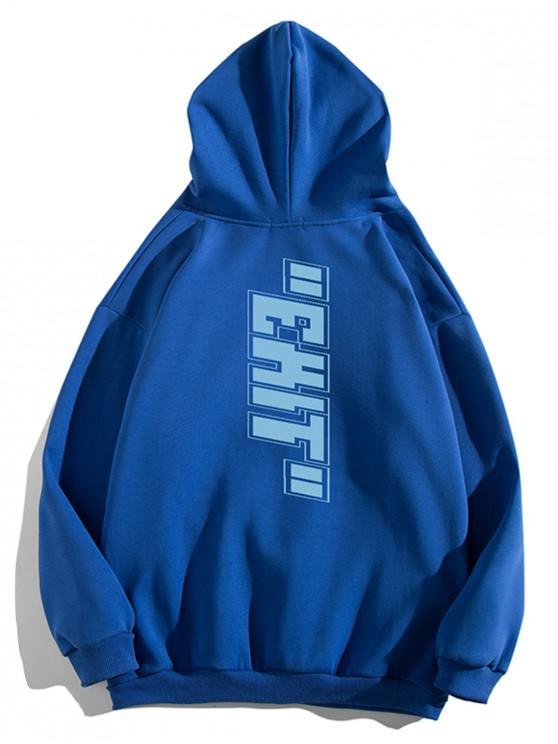 buy Letter Print Pouch Pocket Casual Hoodie - BLUE XL