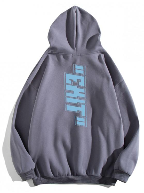 womens Letter Print Pouch Pocket Casual Hoodie - DARK GRAY L