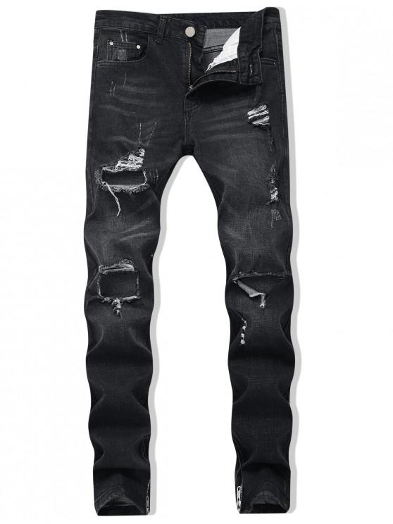 online Zipper Skinny Destroyed Jeans - BLACK 38