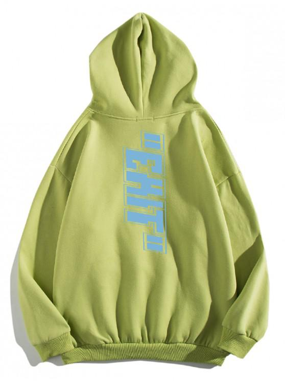chic Letter Print Pouch Pocket Casual Hoodie - PISTACHIO GREEN 2XL