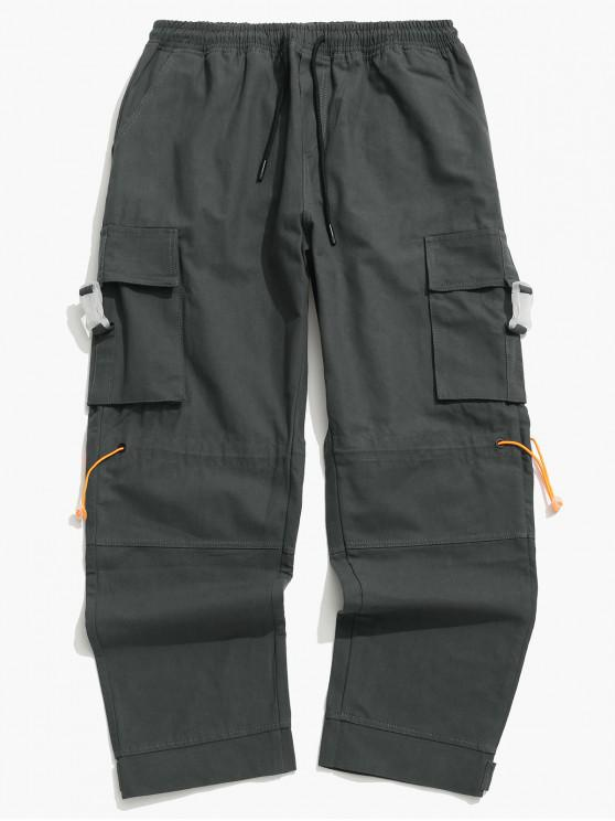 sale Side Buckle Flap Pocket Toggle Cargo Pants - GRAY 3XL