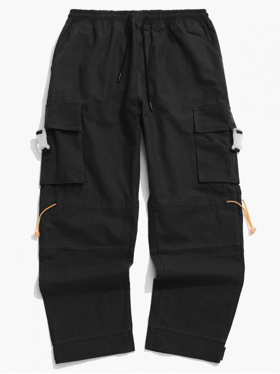 Fibbia laterale tasca della falda Toggle Cargo Pants - Nero 3XL