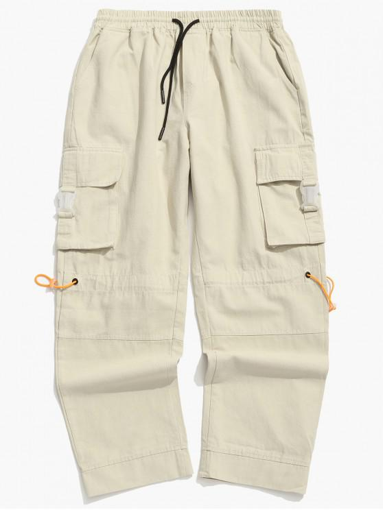 new Side Buckle Flap Pocket Toggle Cargo Pants - KHAKI 3XL