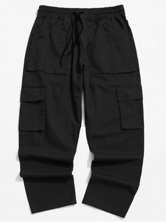 unique Solid Color Flap Pocket Drawstring Cargo Pants - BLACK XL