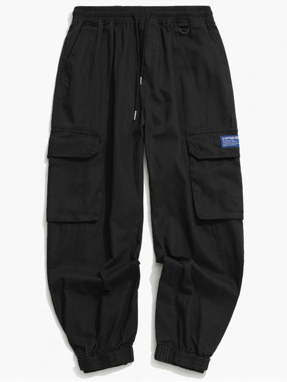 women Solid Drawstring Applique Cargo Jogger Pants - BLACK L