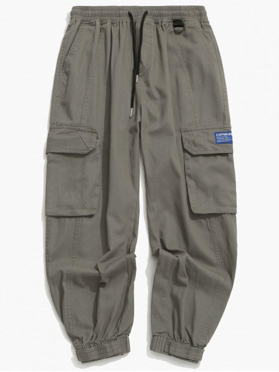 Solid pantaloni con coulisse Applique Cargo Jogger - Grigio XL