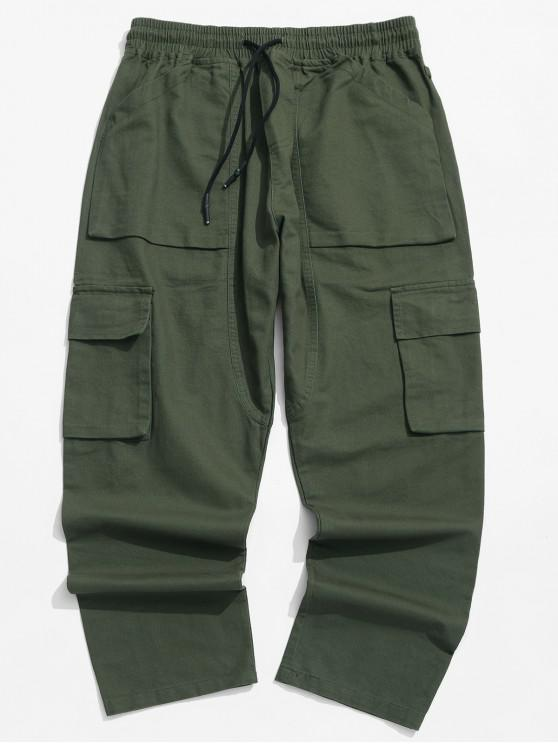 lady Solid Color Flap Pocket Drawstring Cargo Pants - GREEN M