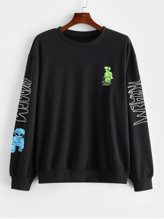hot Casual Cartoon Letter Print Sweatshirt - BLACK S