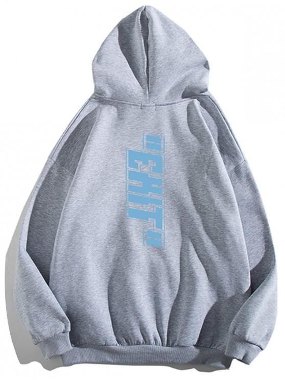 new Letter Print Pouch Pocket Casual Hoodie - LIGHT GRAY XL