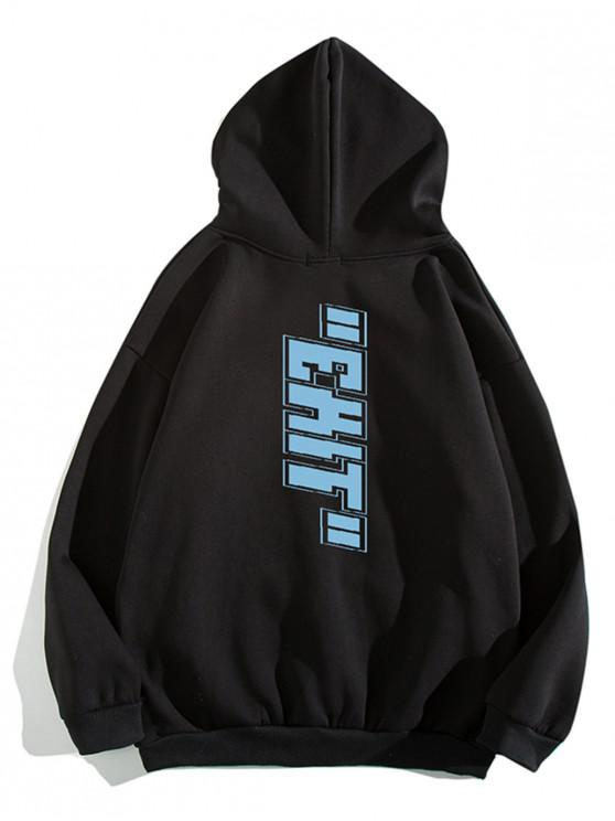 shop Letter Print Pouch Pocket Casual Hoodie - BLACK M