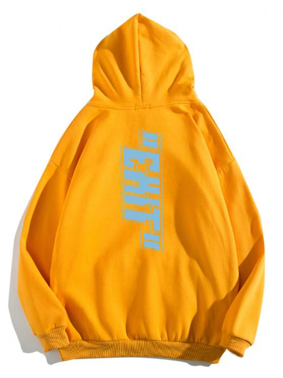 fashion Letter Print Pouch Pocket Casual Hoodie - SAFFRON 3XL