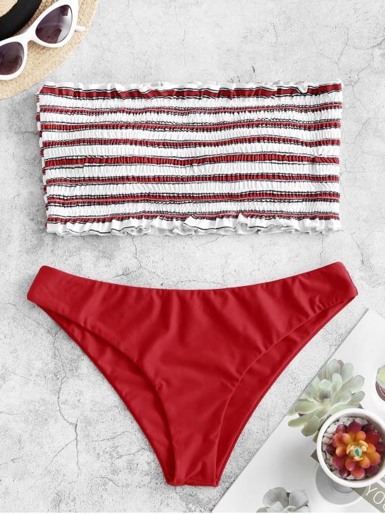 womens ZAFUL Stripe Smocked Bandeau Bikini Set - RED L