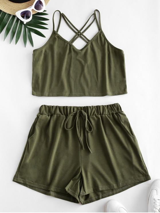 shops Strappy Criss Cross Tie Waist Two Piece Set - ARMY GREEN L