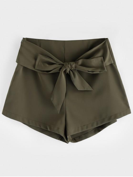 unique ZAFUL Belted High Waisted Wide Leg Shorts - FERN GREEN XL