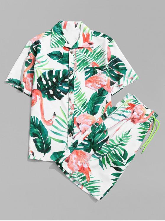 fashion Flamingo Leaf Print Shirt and Shorts - WHITE 3XL