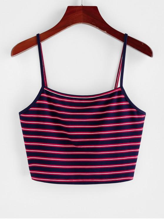 shops ZAFUL Striped Crop Cami Top - MIDNIGHT BLUE S