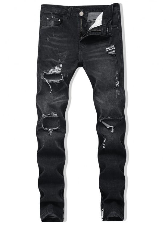 new Zipper Skinny Destroyed Jeans - BLACK 36