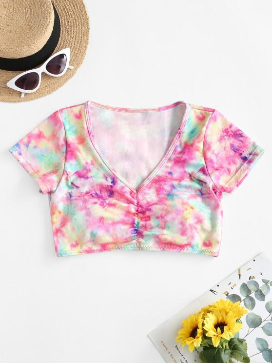 chic ZAFUL Tie Dye Padded Ruched T-shirt Bikini Top - MULTI-A M