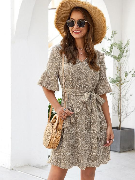 buy ZAFUL Ruffle Waist Tie Ditsy Print Dress - FALL LEAF BROWN S