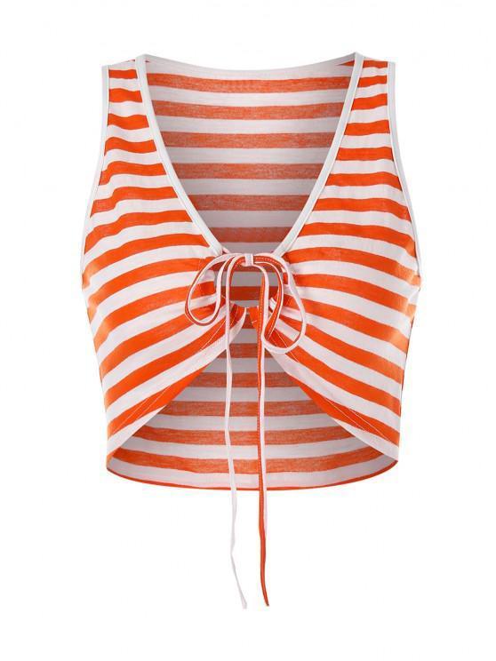 ZAFUL Gestreiftes Kurzes Crop Top mit Krawatte - Orange XL