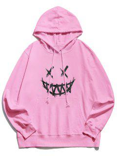 Happy Face Graphic Pouch Pocket Casual Hoodie - Pink M