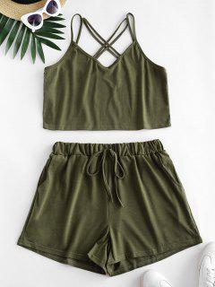 Strappy Criss Cross Tie Waist Two Piece Set - Army Green M