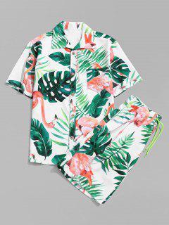 Flamingo Leaf Print Shirt And Shorts - White L