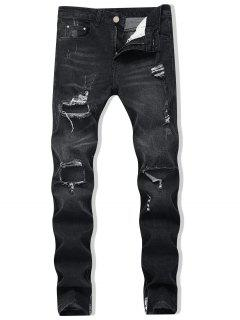 Zipper Skinny Destroyed Jeans - Black 36