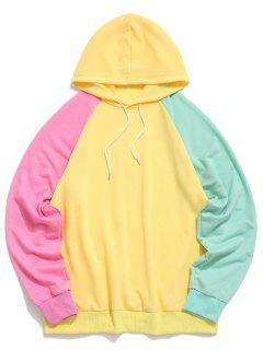 Raglan Sleeve Colorblock Spliced Drawstring Hoodie - Yellow L