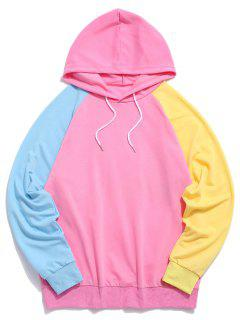 Raglan Sleeve Colorblock Spliced Drawstring Hoodie - Hot Pink L