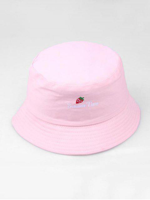 Вышивка клубники и буквы Шляпа-ведро - Розовый  Mobile