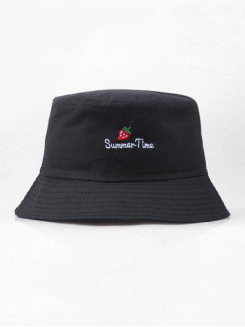 Вышивка клубники и буквы Шляпа-ведро - Чёрный  Mobile