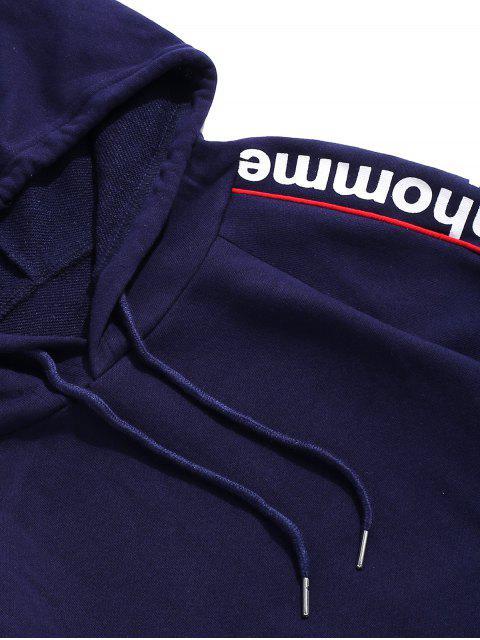 信打印管道插肩袖休閒連帽衫 - 深藍 2XL Mobile