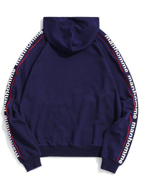 信打印管道插肩袖休閒連帽衫 - 深藍 M Mobile