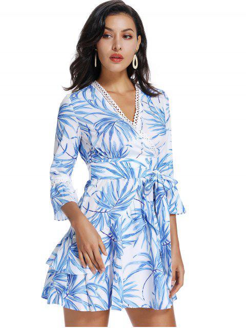 ZAFUL Vestido de Escote de Plegado Oblicuo con Estampado de Hoja con Volantes - Blanco L Mobile