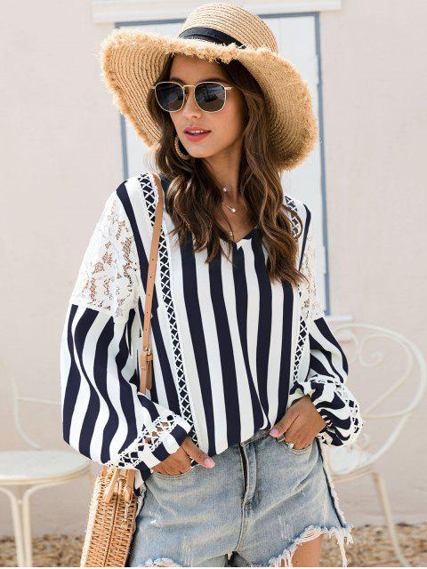 trendy ZAFUL Striped Lace Panel Lantern Sleeve Blouse - MIDNIGHT BLUE L Mobile