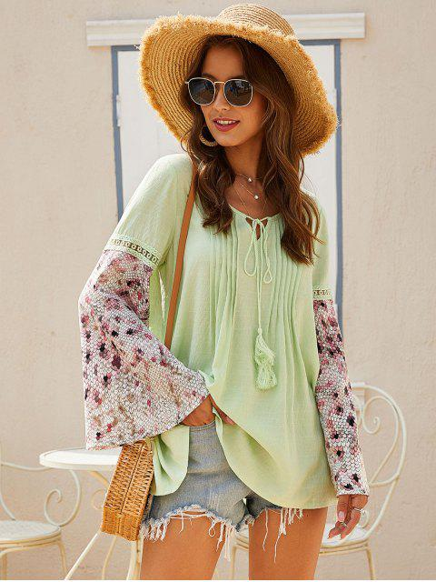fashion ZAFUL Pintuck Tie Bell Sleeve Peasant Blouse - SALAD GREEN XL Mobile