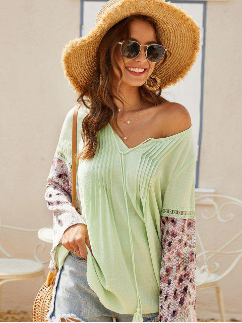shop ZAFUL Pintuck Tie Bell Sleeve Peasant Blouse - SALAD GREEN L Mobile