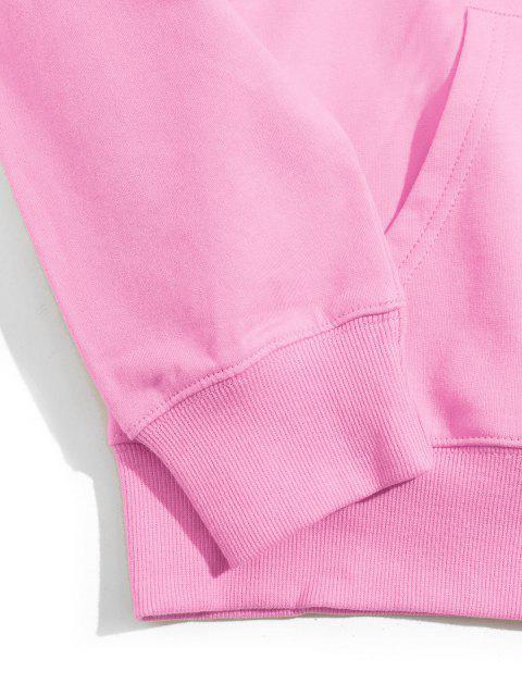 Hand Muster Grafik Känguru Taschen Tunnelzug Hoodie - Rosa S Mobile