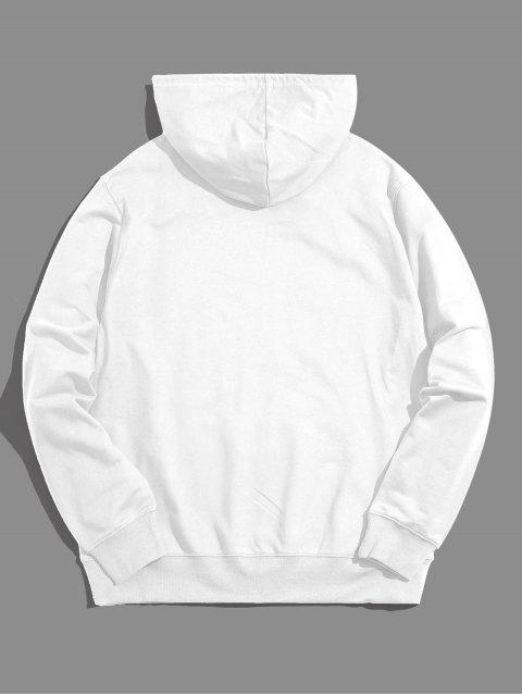 Hand Muster Grafik Känguru Taschen Tunnelzug Hoodie - Weiß S Mobile