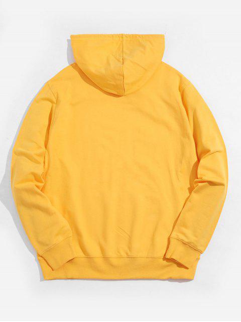 伸援手圖形袋鼠口袋抽繩連帽外套 - 黃色 XL Mobile
