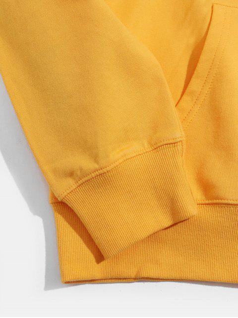 Hand Muster Grafik Känguru Taschen Tunnelzug Hoodie - Gelb 2XL Mobile