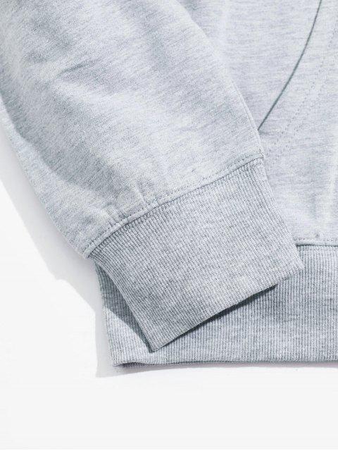 伸援手圖形袋鼠口袋抽繩連帽外套 - 灰色 2XL Mobile
